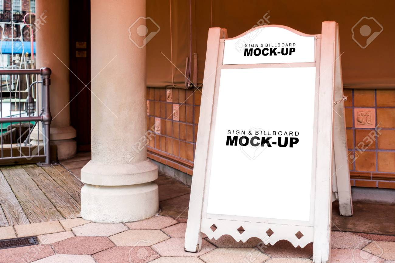 The Mock Up Blank White Display Of Large Pink Wooden Frame Billboard