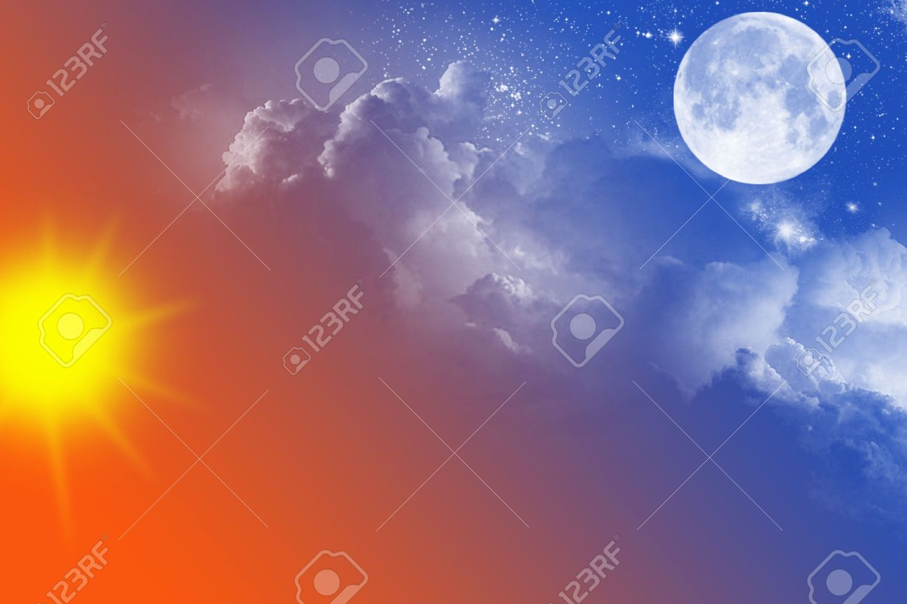 sky with sun moon stars and clouds stock photo picture and
