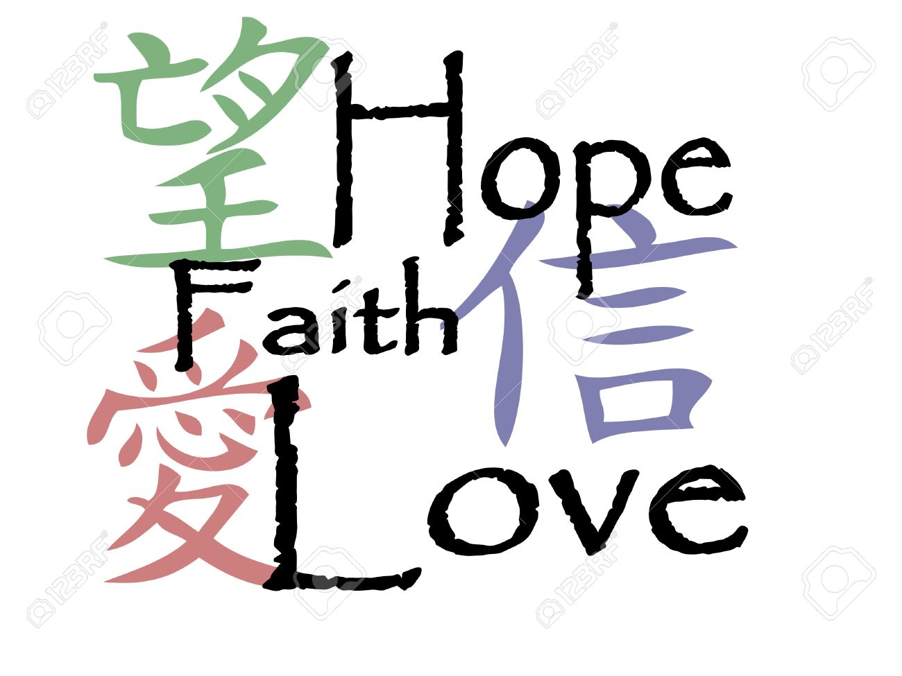 Chinese Symbols For Hope Faith And Love Royalty Free Cliparts