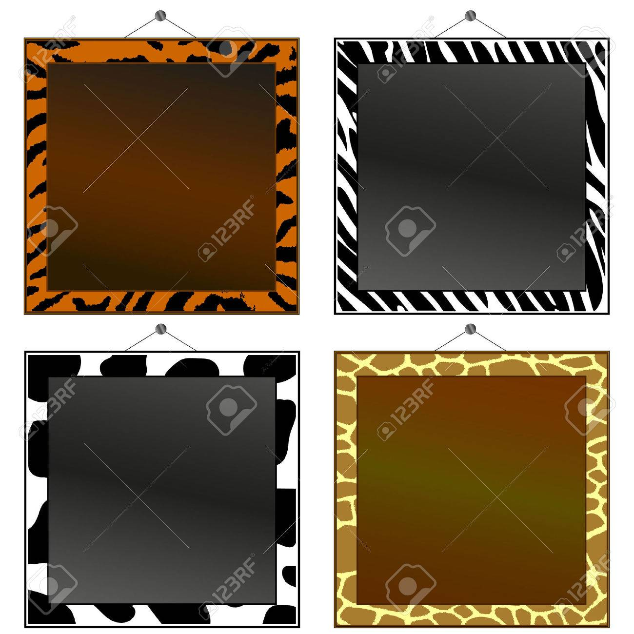 Four Animal Print Frames To Put Your Own Photo Or Text In. Royalty ...