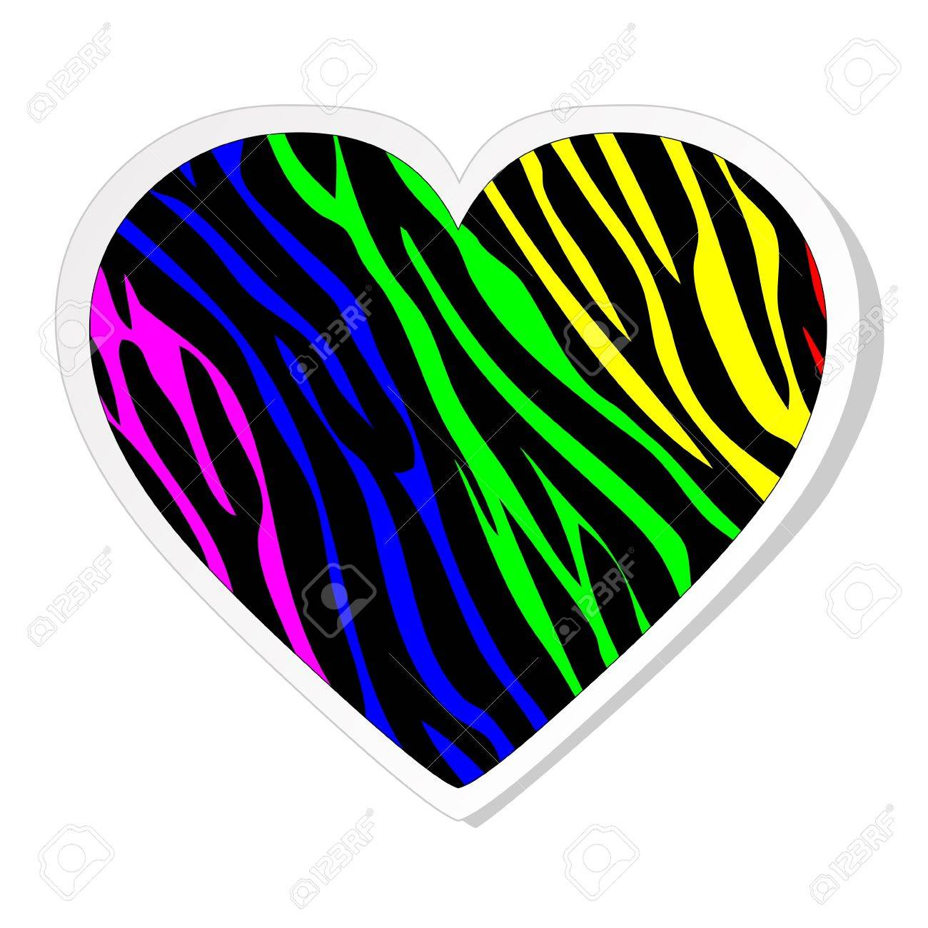 Rainbow zebra heart sticker Stock Vector - 12302100