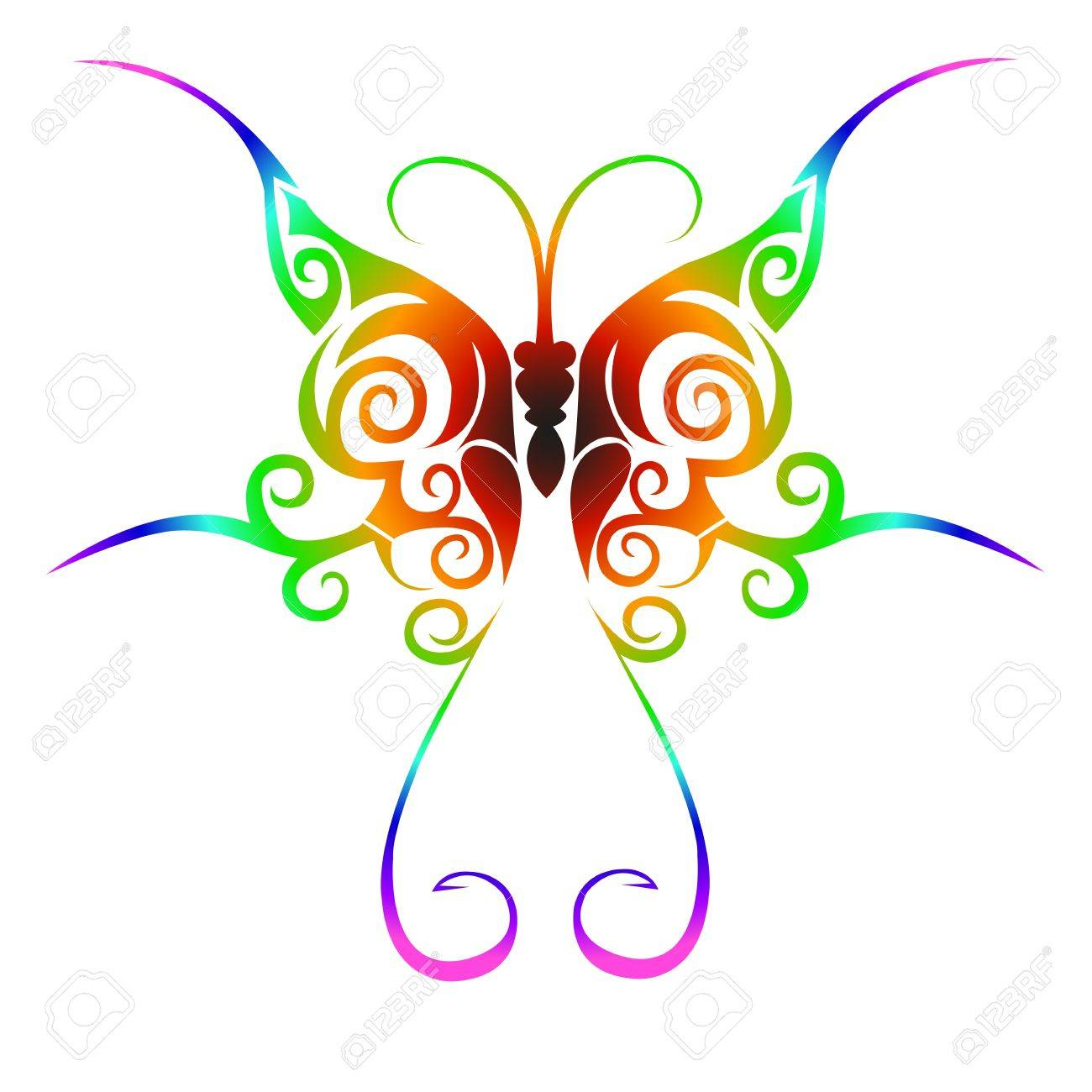 Colorful tribal butterfly tattoo Stock Vector - 12487340