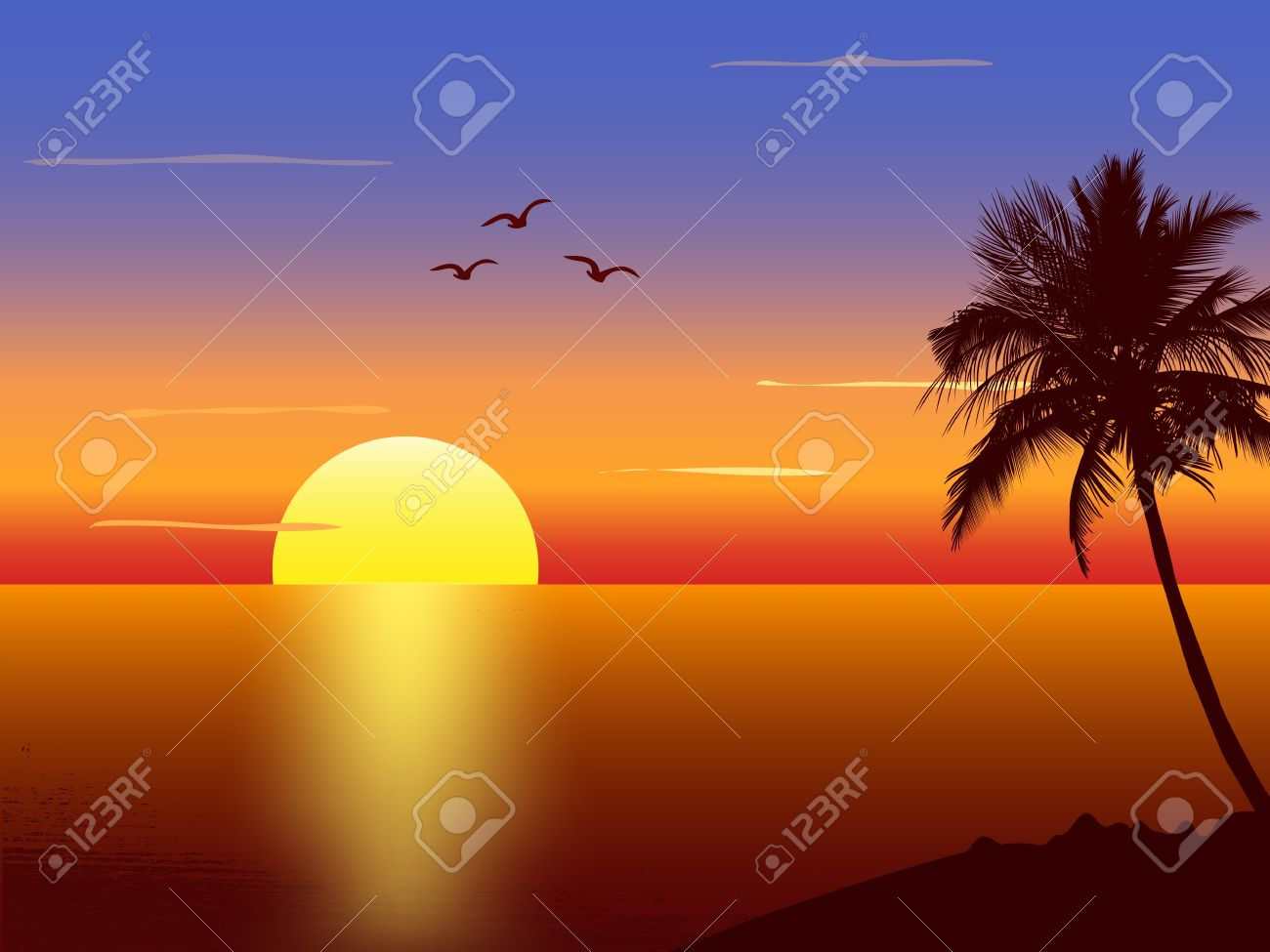 Sunset with palmtree silhouette Stock Vector - 12897697