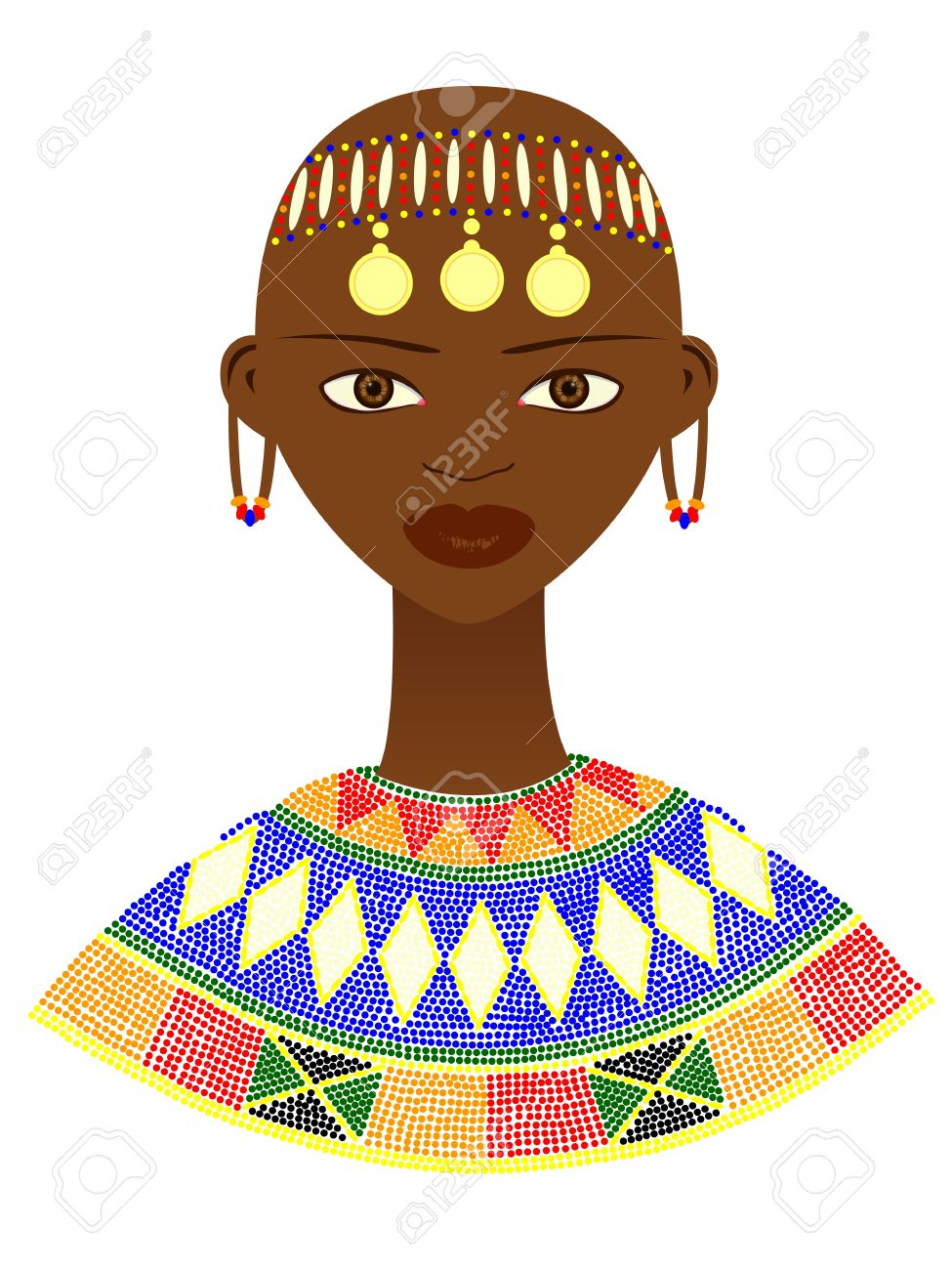 Native African Woman With Traditional Jewelry Royalty Free ...