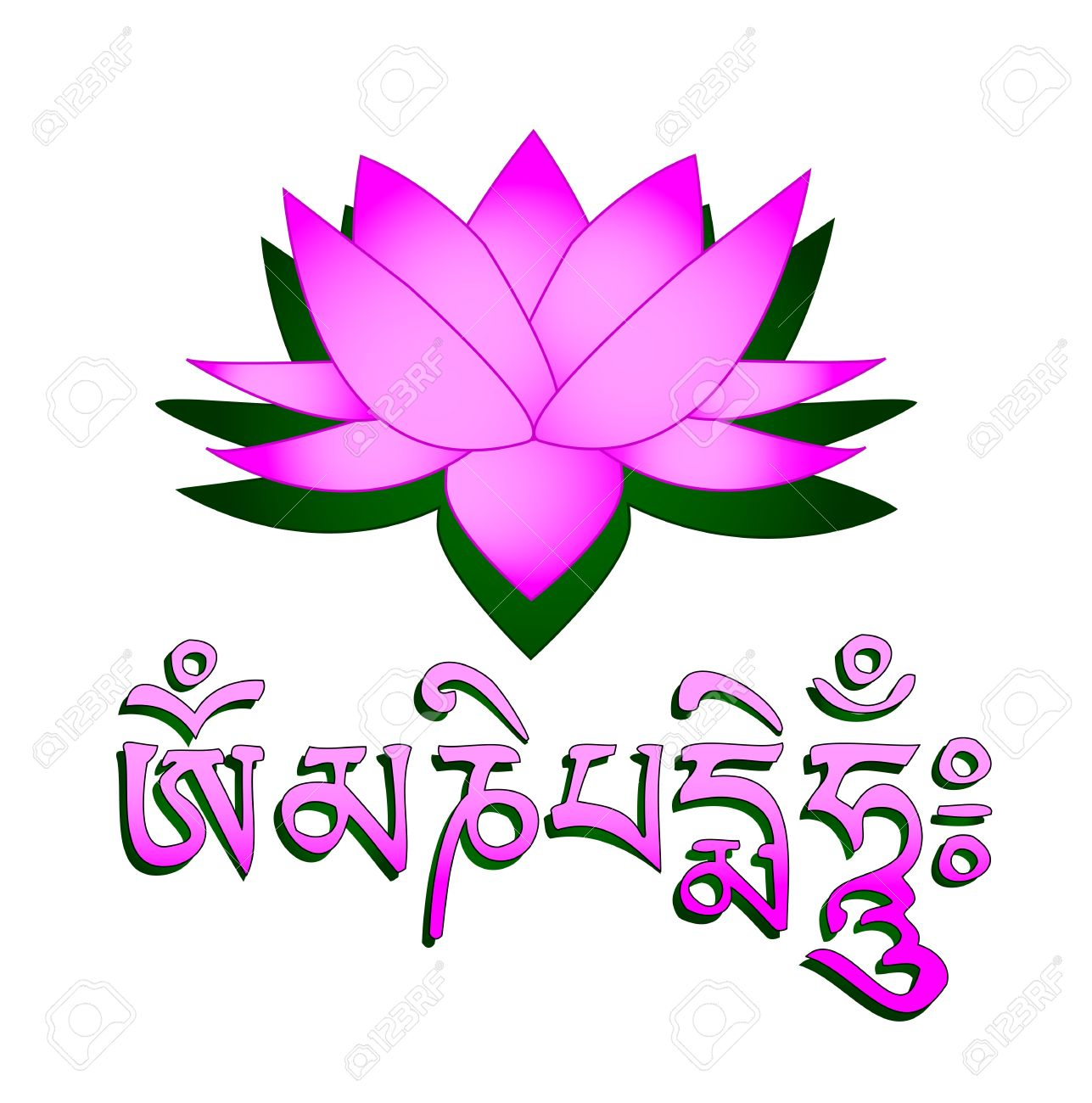 Lotus flower om symbol and mantra om mani padme hum royalty free lotus flower om symbol and mantra om mani padme hum stock vector mightylinksfo