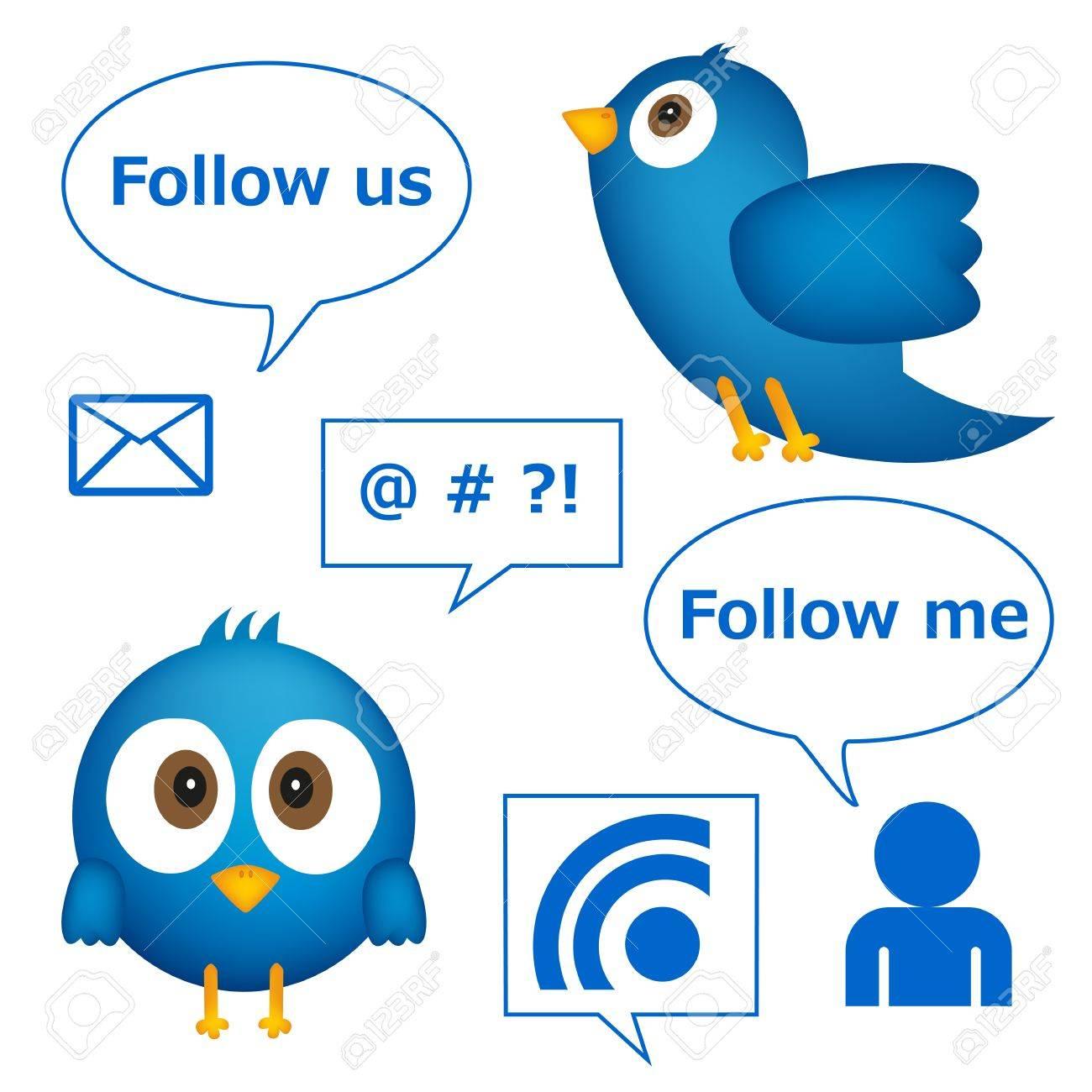 Cartoon of blue bird with social media graphics Stock Vector - 14388367