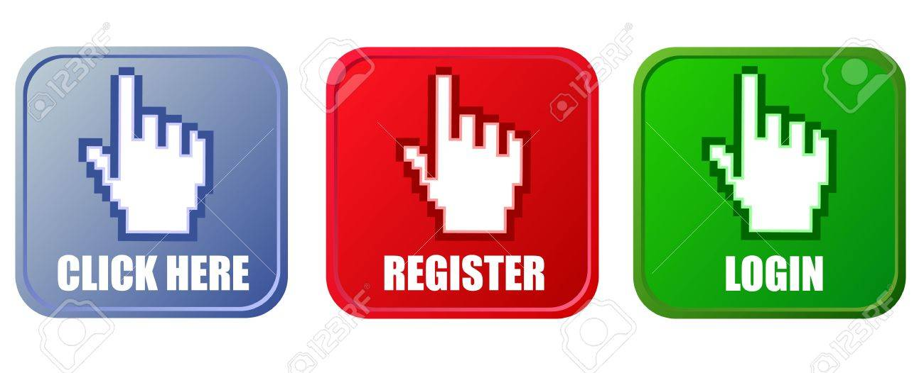 Vector buttons - click here, register and login Stock Vector - 15820576