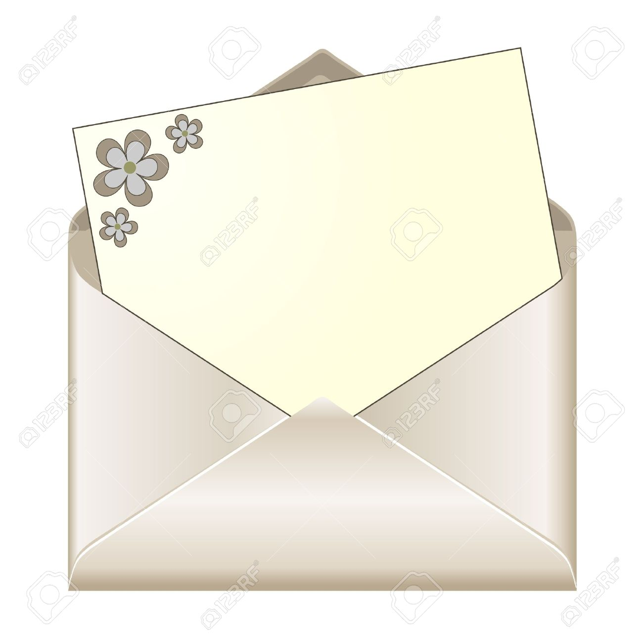 open envelope with floral stationery stock vector 17302124