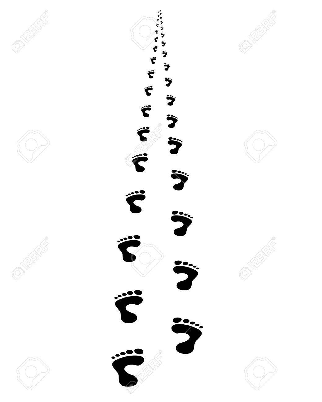 Foot prints walking away; in perspective Stock Vector - 17301583