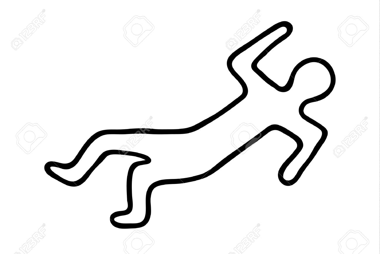 Chalk Outline Of A Dead Body Stock Vector