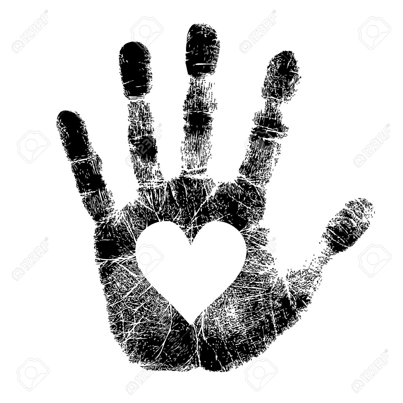 Hand print avec le coeur Banque d'images - 18454790