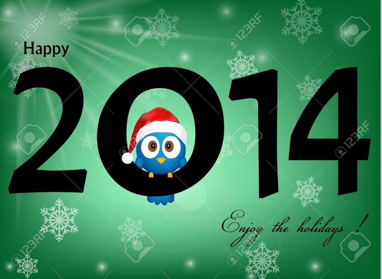 2014 célébration fond avec l'oiseau bleu drôle Banque d'images - 21330726