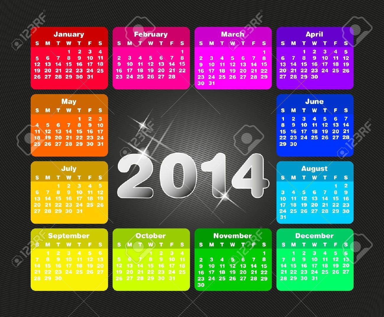 Colorful calendar for 2014. Week starts on sunday - 21330708