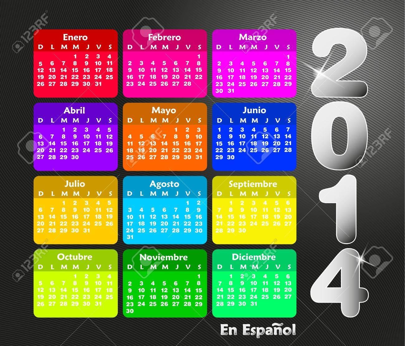 Calendrier coloré pour 2014 en espagnol. La semaine commence le dimanche Banque d'images - 21330712