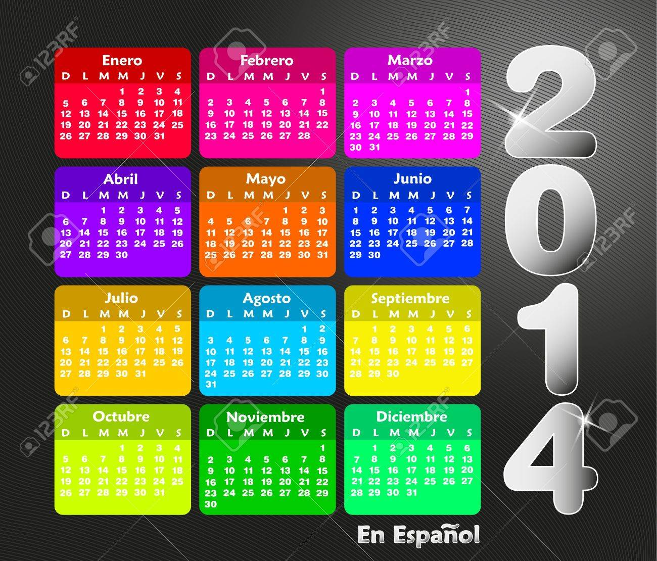 Colorful calendar for 2014 in spanish. Week starts on sunday Banque d'images - 21330712