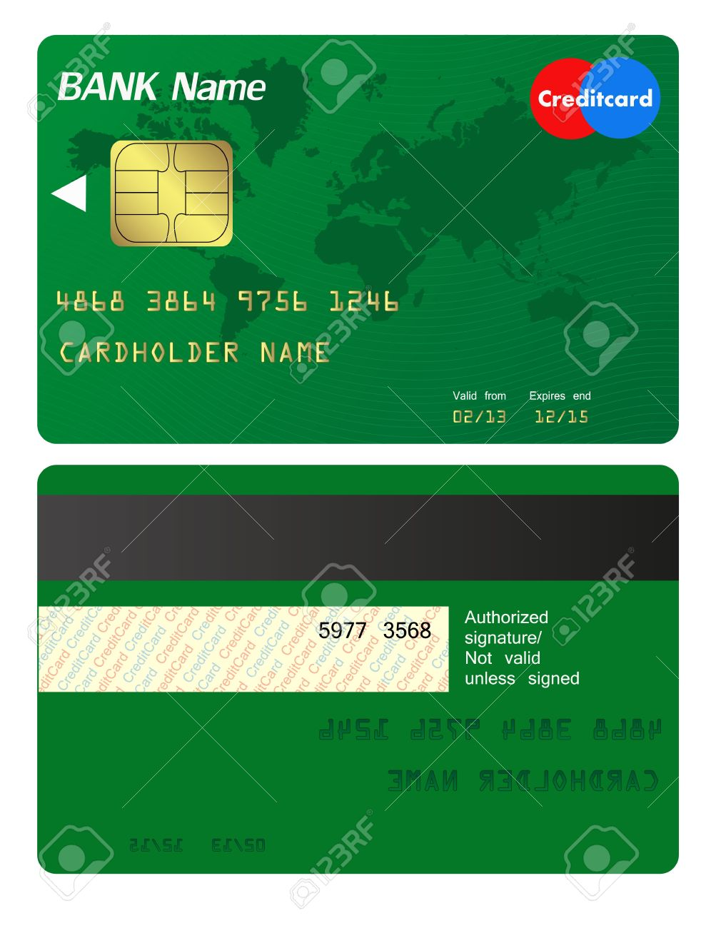 Front And Back Of Credit Card Royalty Free Cliparts Vectors And