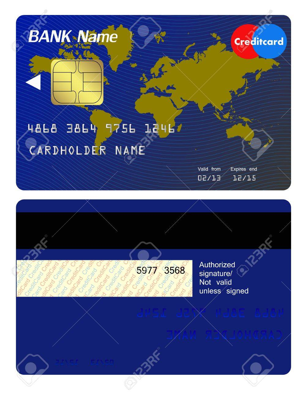 Front and back of credit card Stock Vector - 21599186