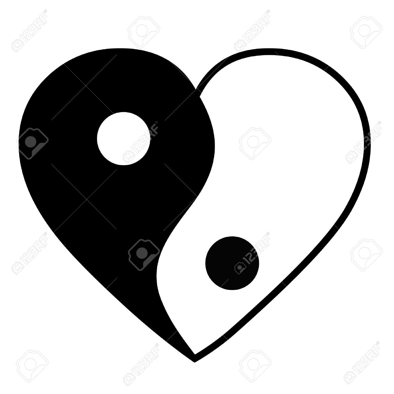 Coeur Yin yang Banque d'images - 25665362