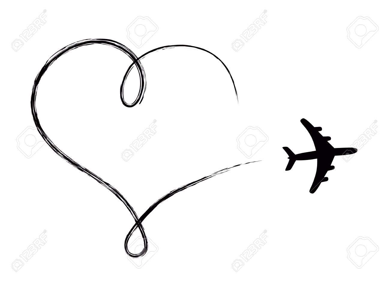 Heart shaped icon in air, made by plane Banque d'images - 25665406