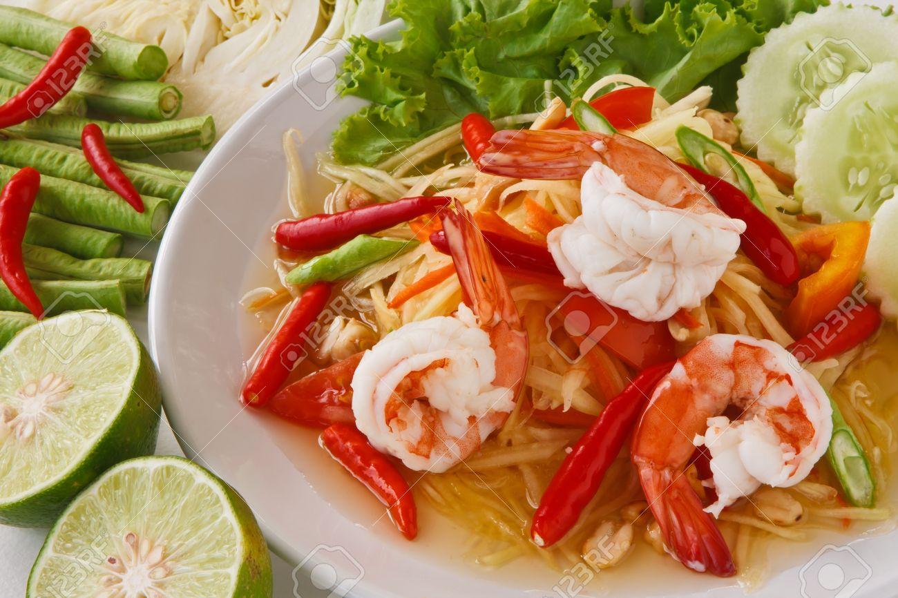 green papaya salad (traditional and modern thai food) Stock Photo - 9028267