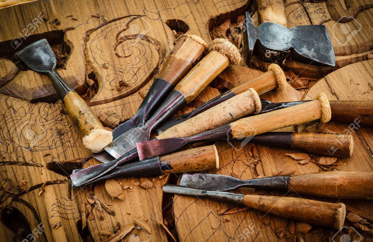 Vintage Woodworking Tools On The Traditional Thai Woodcarver Stock