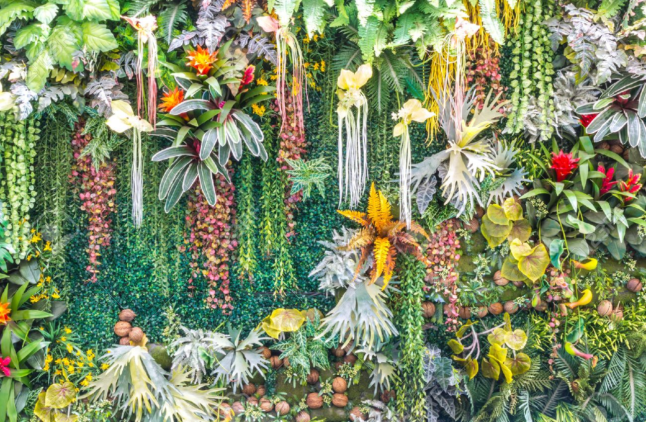Artificial Vertical Garden And Fake Plants On Walls Stock Photo
