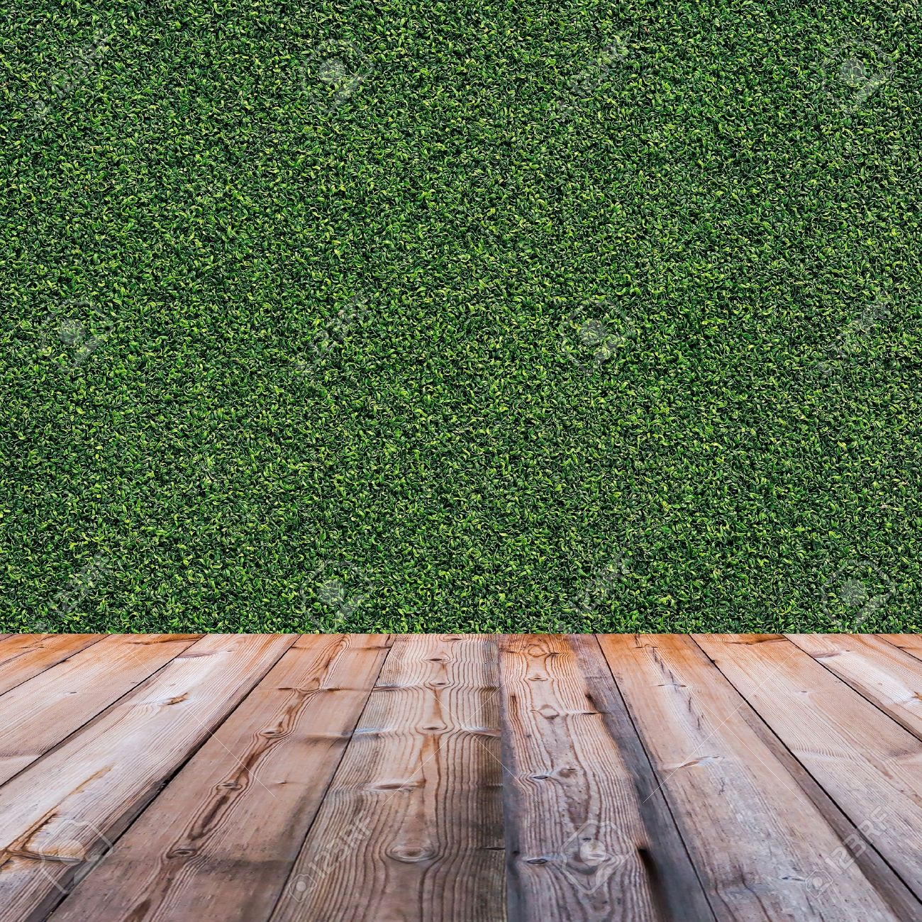Green leaves wall and wood floor for background Stock Photo - 22064576
