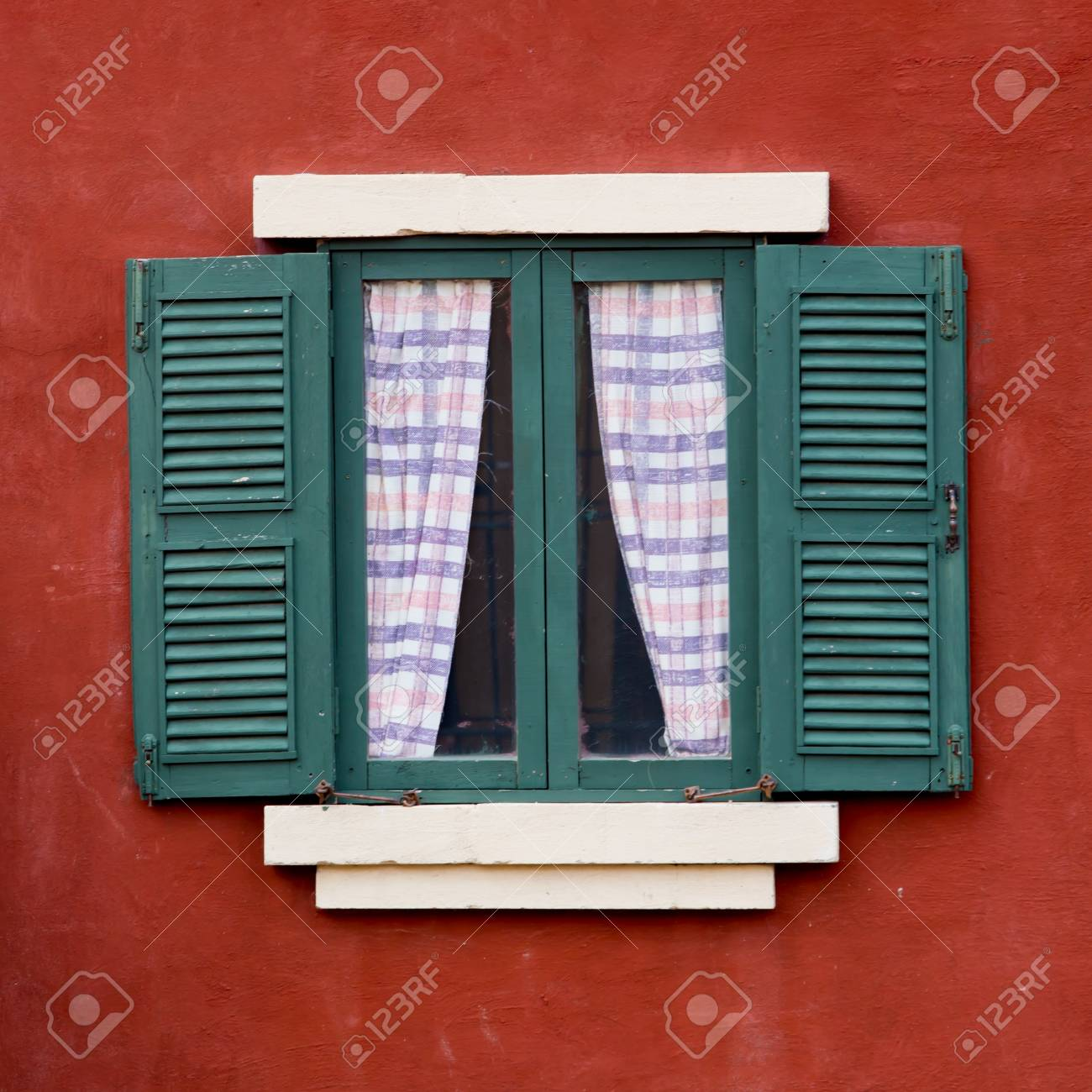 Open Window With  On  red Wall Stock Photo - 22064715