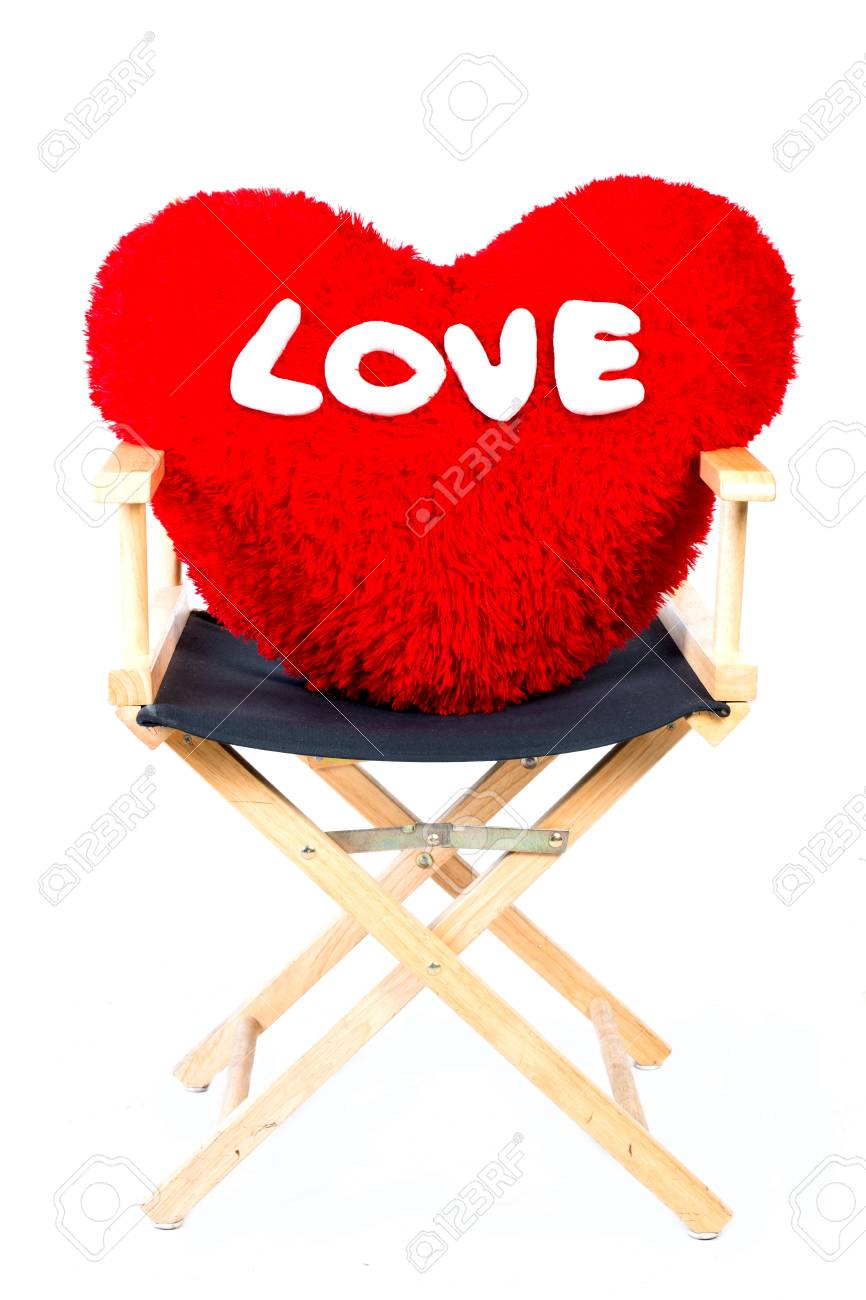 Bon Red Pillow Heart Shaped On Chair In Isolated In White Stock Photo   30891459