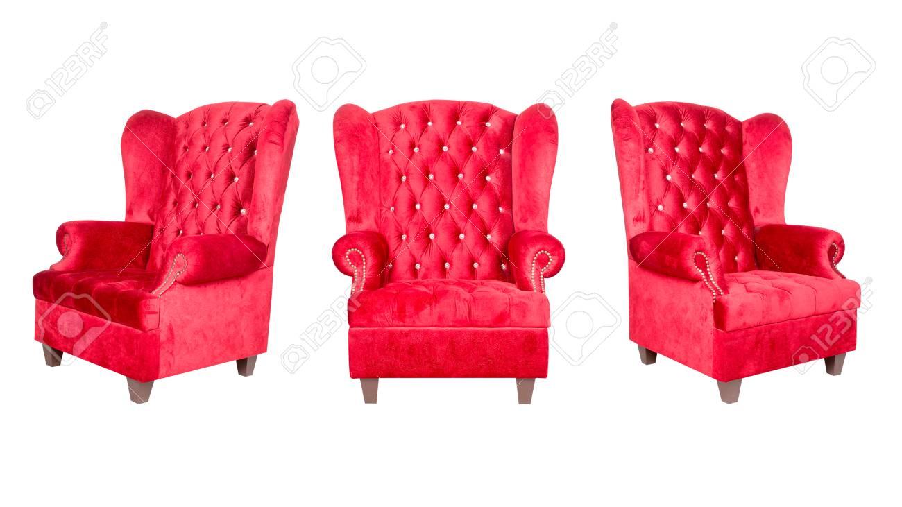 Rode Lederen Fauteuil.Rode Lederen Fauteuil Op Wit Wordt Geisoleerd