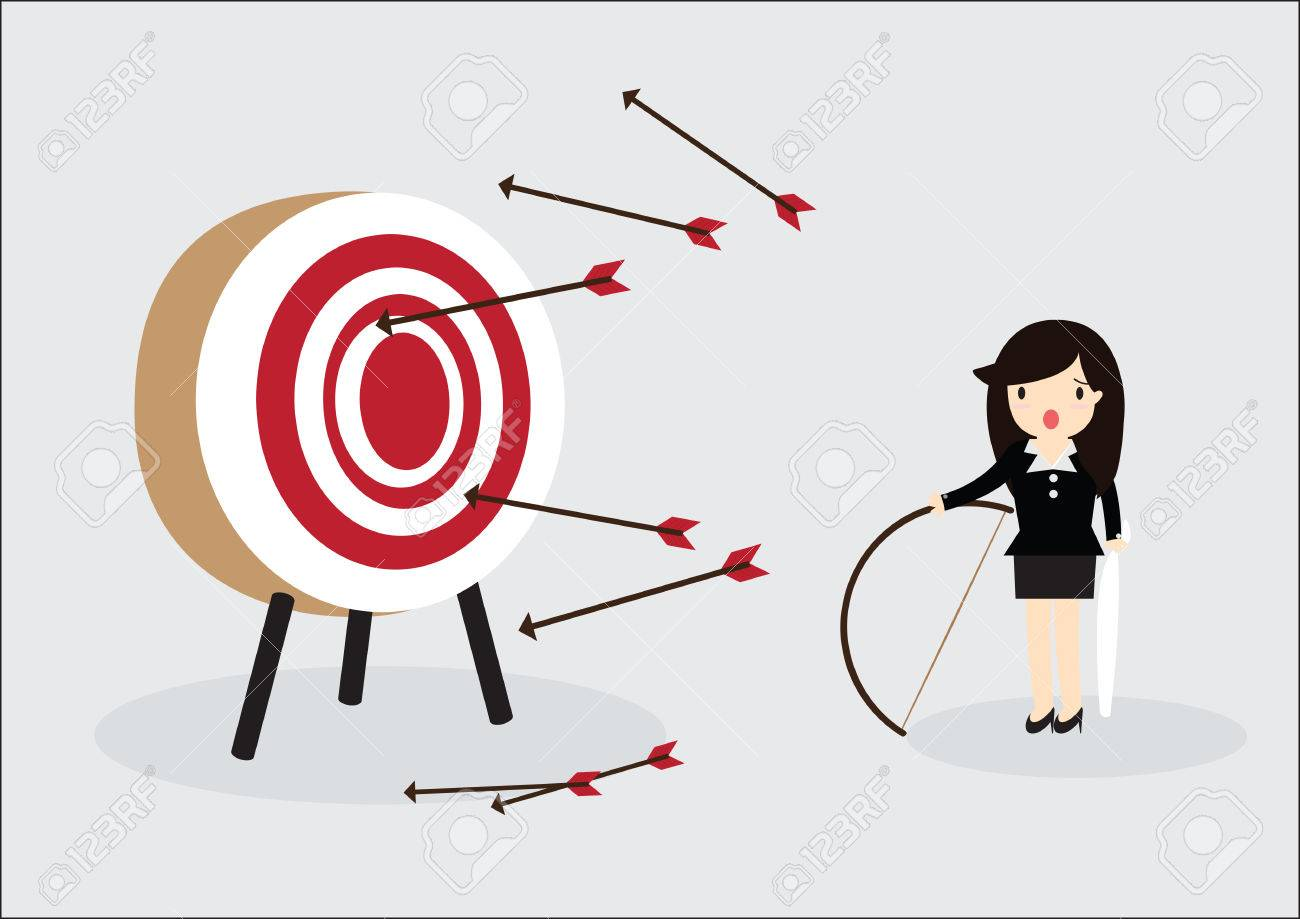 Blindfold business woman try to hit a target - 38963057