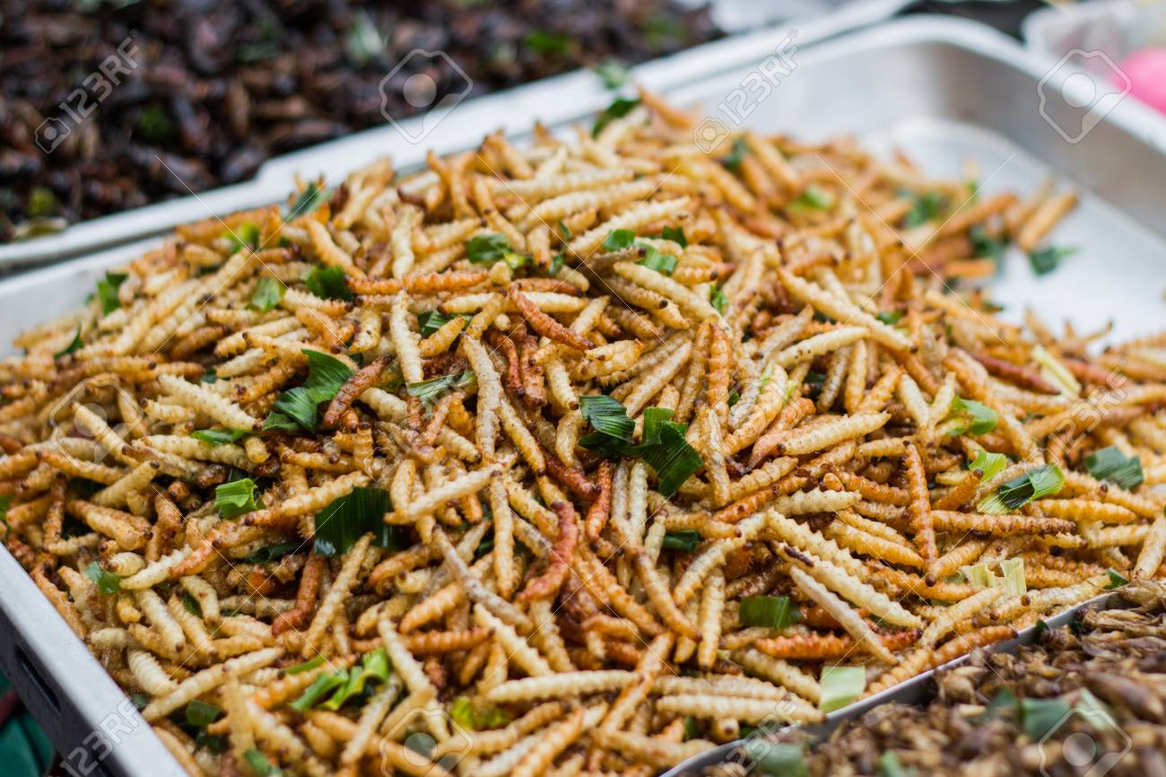 Fried insects Thai food at the street food market  Available