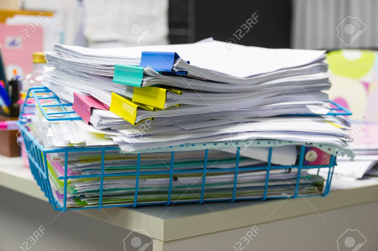 desk office file document paper. File Folder And Stack Of Business Report Paper On The Table In A Work Office Desk Document