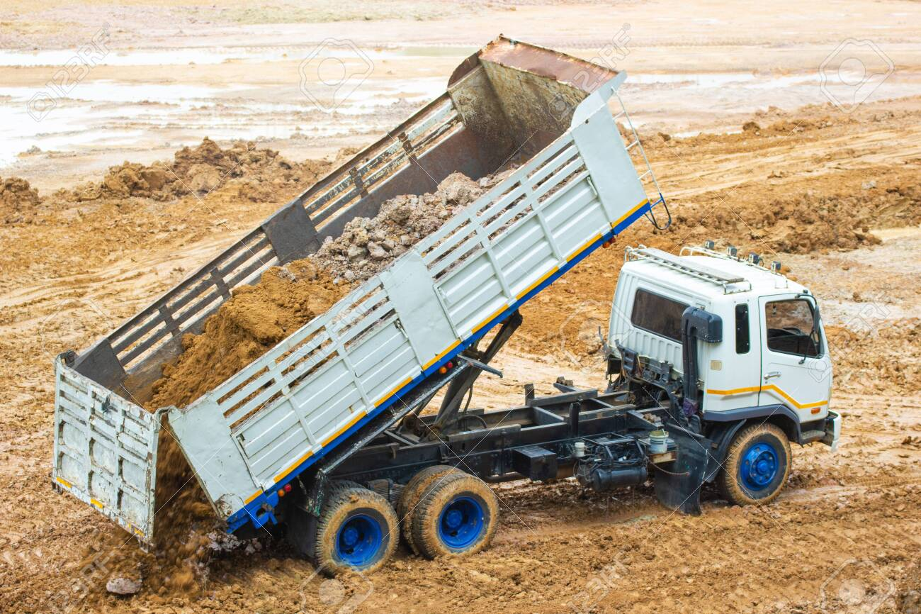 Big Dump Trucks >> Big Dump Truck Working Delivery Of Sand To The Construction Site