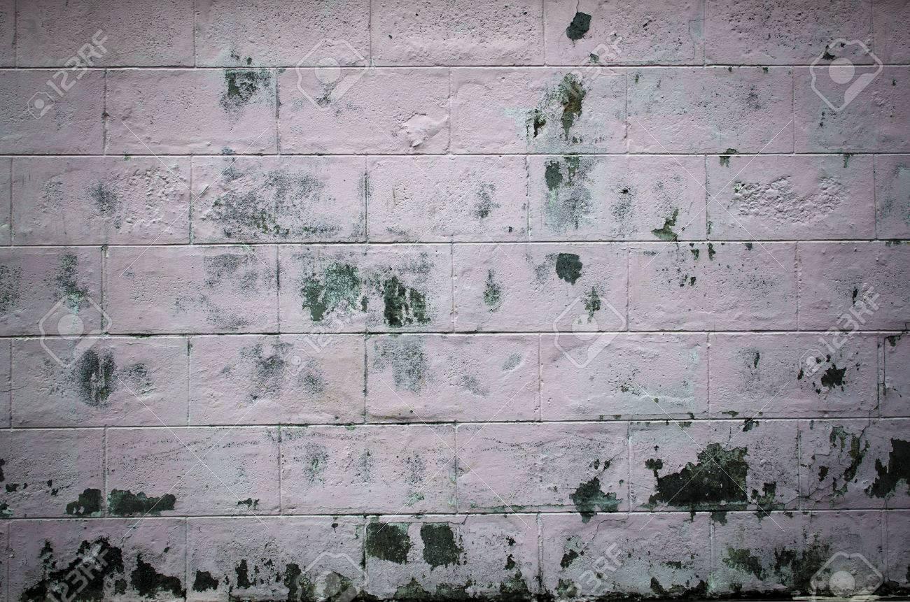 Sale Mur Gris Blanc Usé Avec Des Restes De Peinture Rose Et Réparation
