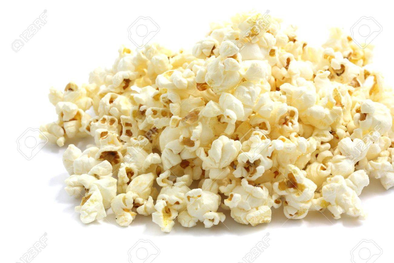A pile of salted popcorn isolated on white background. Stock Photo - 10039648