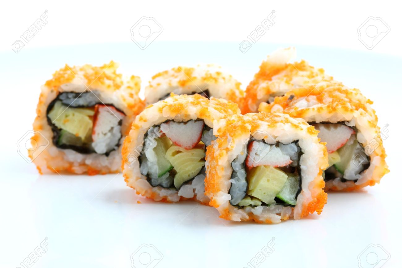 Stock Photo , Sushi California Roll on dish isolated in white background