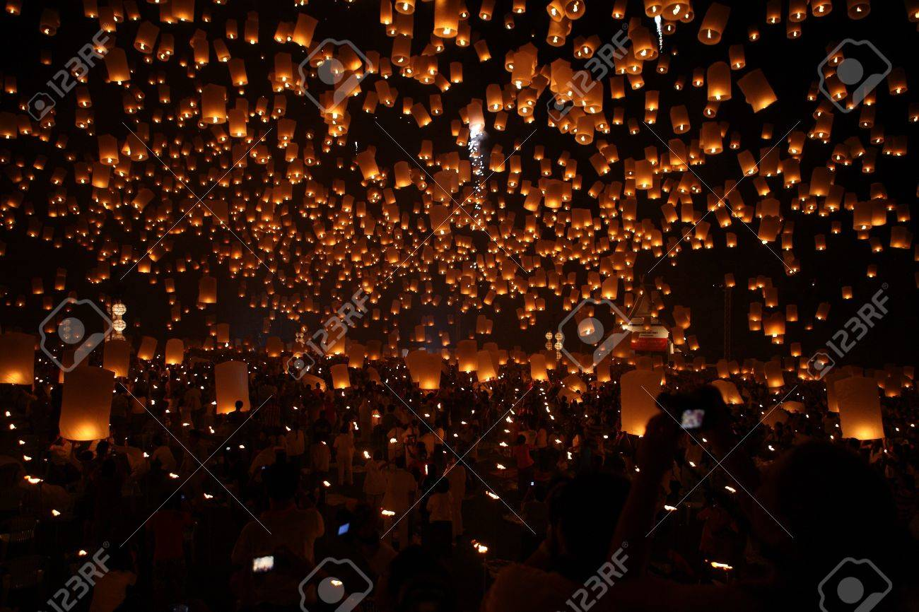north of thailand happy newyear christmas balloon yeepeng traditional at night stock photo 10120481