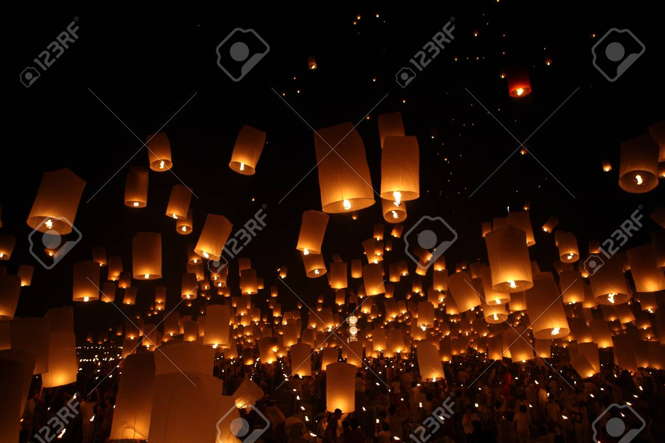 north of thailand happy newyear christmas balloon yeepeng traditional at night stock photo 10120480