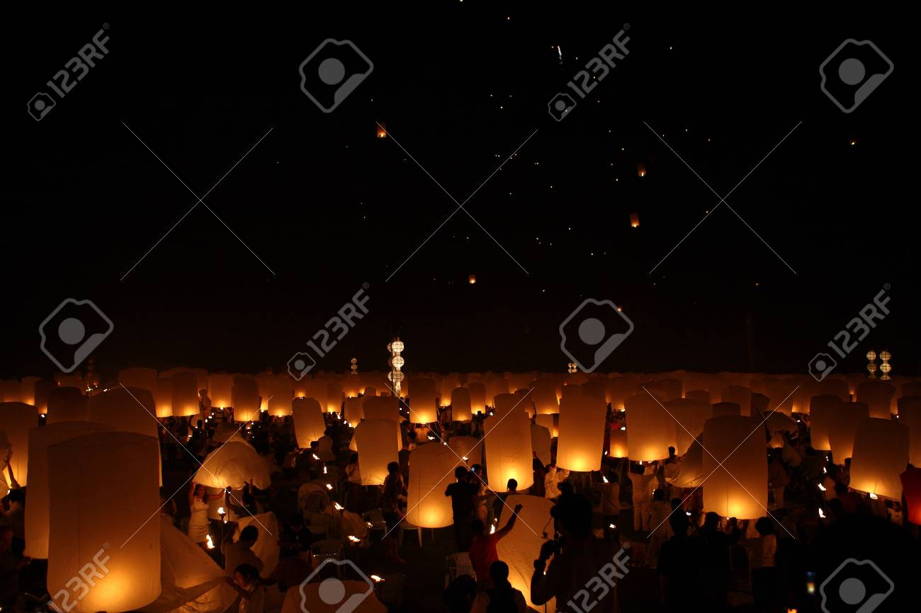 stock photo thailand happy newyear christmas balloon yeepeng traditional at night