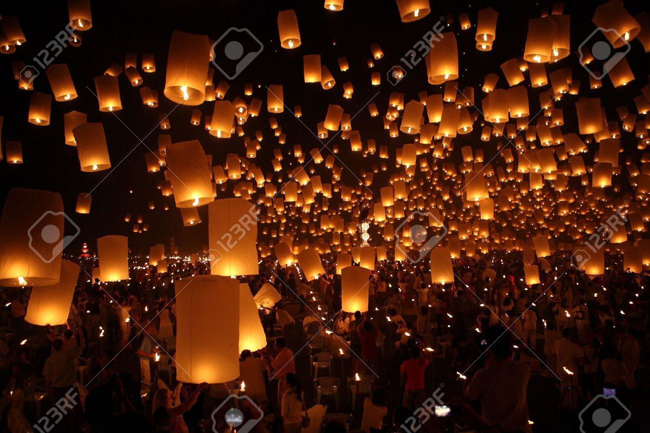 North of Thailand Happy newyear christmas balloon yeepeng traditional at night Stock Photo - 10202982