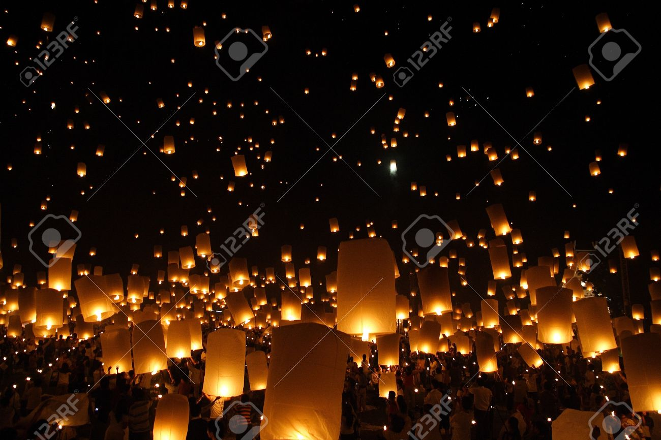 north of thailand happy newyear christmas balloon yeepeng traditional at night stock photo 10185865