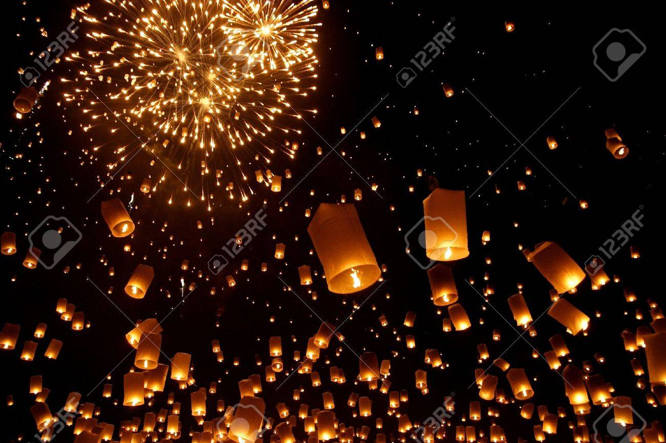 north of thailand happy newyear christmas balloon yeepeng traditional at night stock photo 10191863