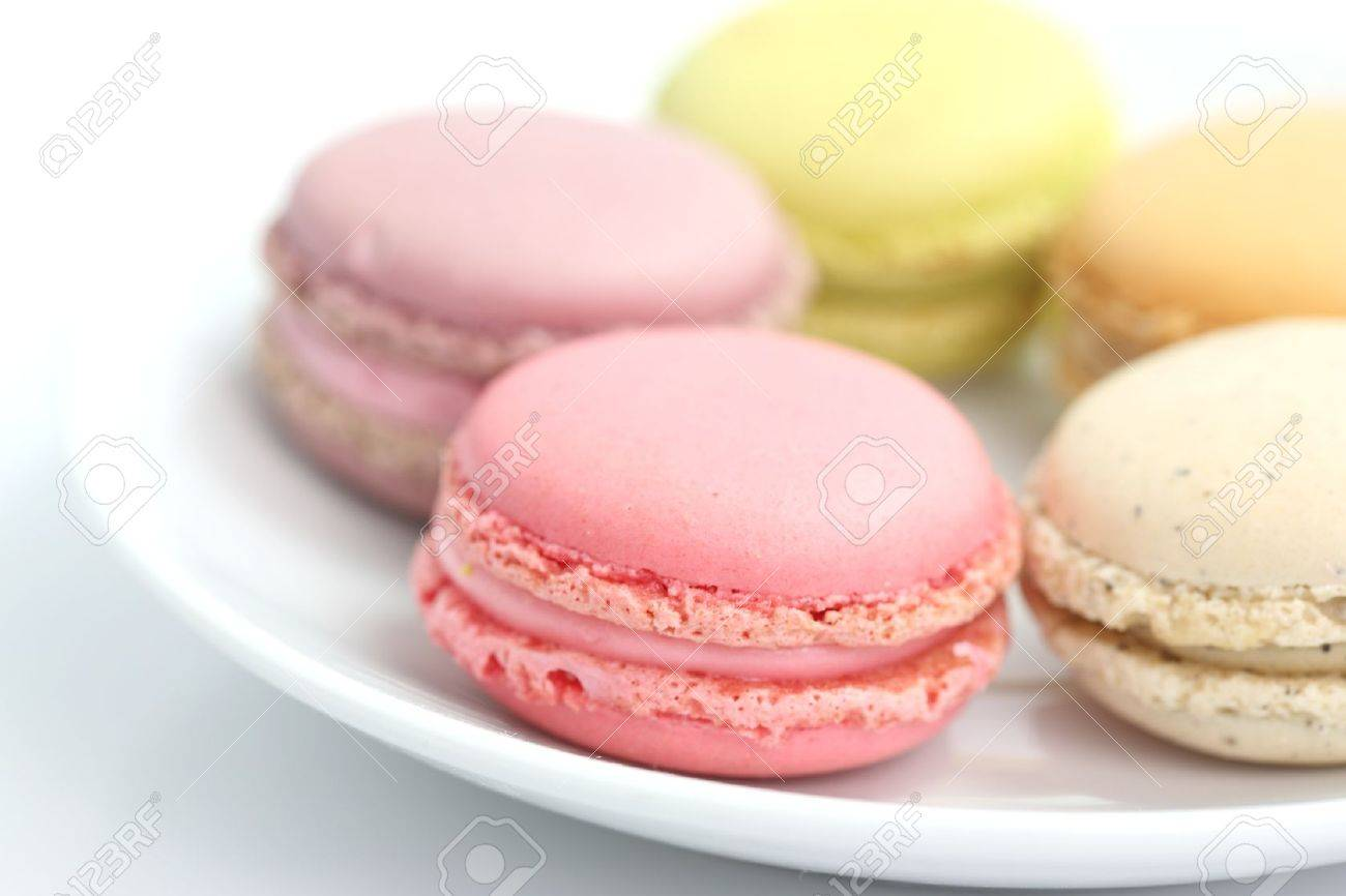 Colorful Macaron in close up isolated on white background Stock Photo - 10859006