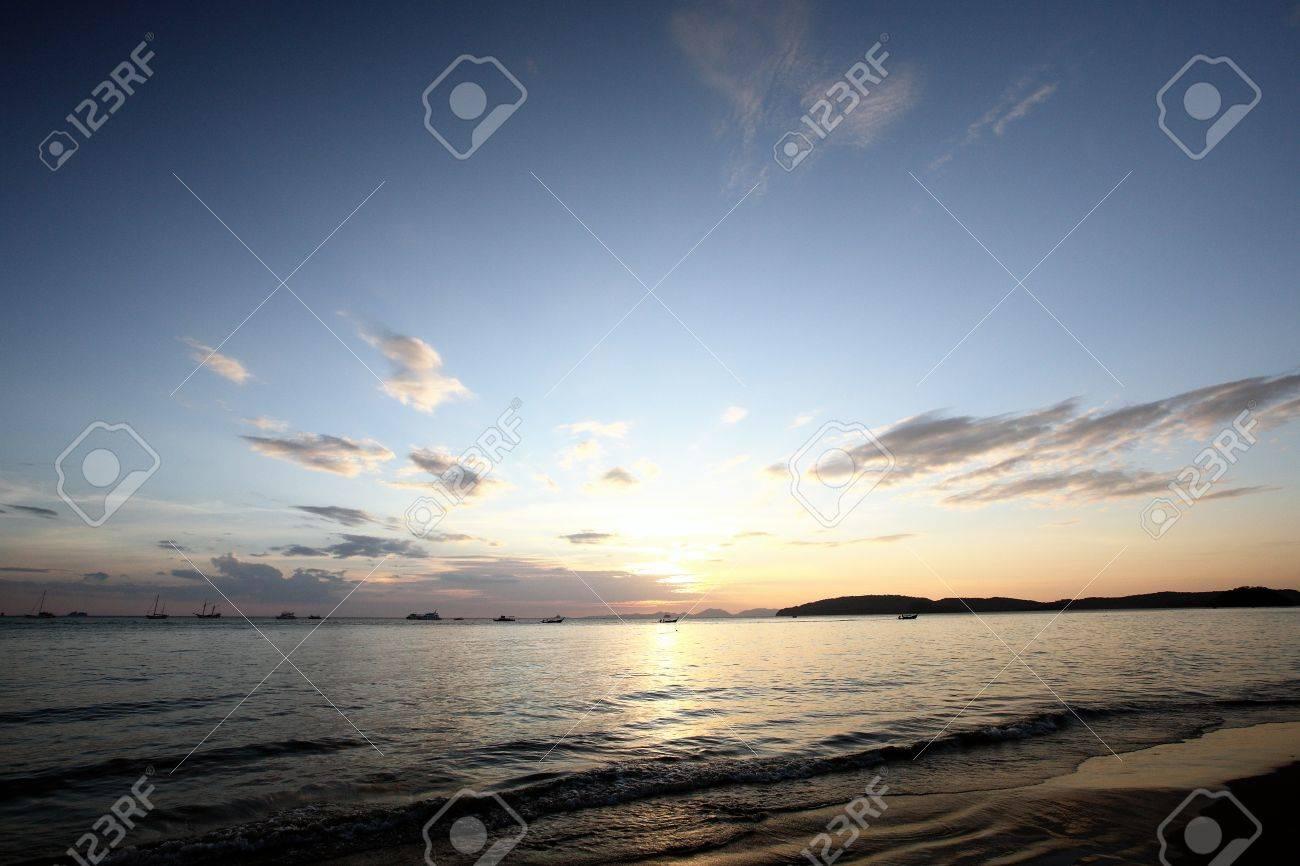 Tropical sunset on the beach. Krabi. Thailand Stock Photo - 11916002