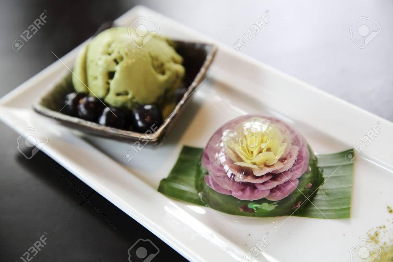 flower water cake the water drop dessert mochi mizu shingen mochi