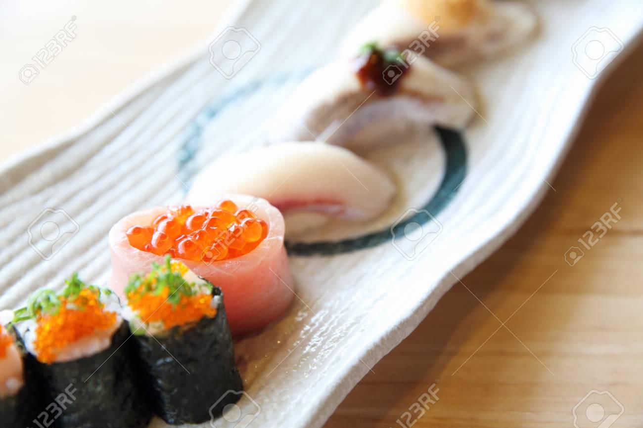 Japanese Amberjack Sushi Hamachi Sushi Japanese Food Stock Photo