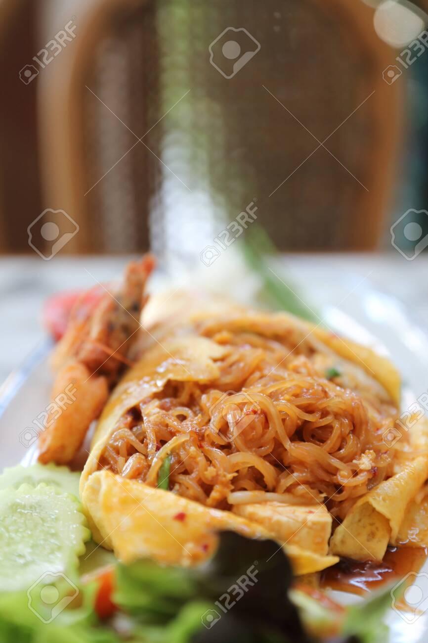 Thai food pad thai fried noodle with shrimp , thai local food - 139480063