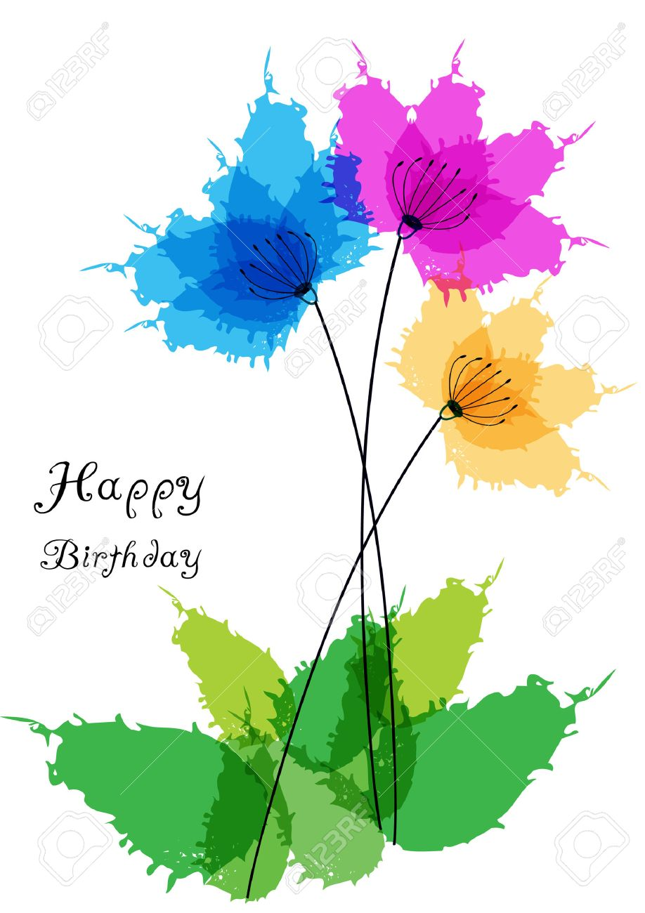 Happy birthday card with watercolor flowers royalty free cliparts happy birthday card with watercolor flowers stock vector 29255955 izmirmasajfo Image collections