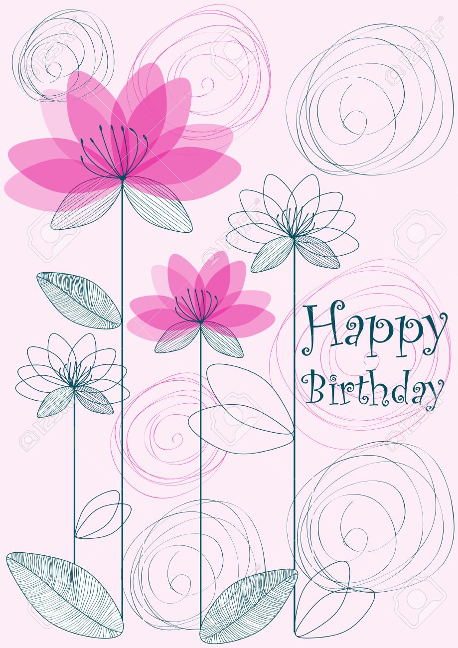 Happy Birthday Flowers Card Royalty Free Cliparts Vectors And